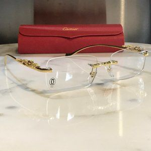 Cartier Gold Rimless Panther Glasses